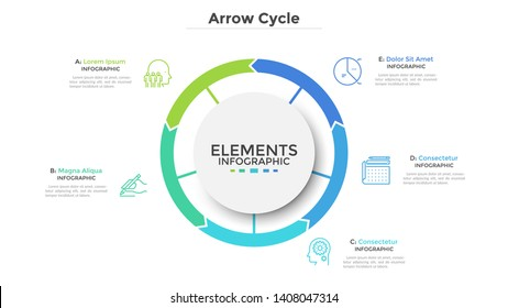 Circular diagram divided into 5 colorful arrow-like parts. Concept of five stages of cyclic process. Simple infographic design template. Flat vector illustration for visualization of business data.