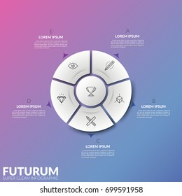 Circular diagram divided into 5 sectors and central round element with thin line signs and arrows pointing at text boxes. Cyclic process visualization. Infographic design layout. Vector illustration.