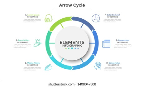 Circular diagram divided into 6 colorful arrow-like parts. Concept of six stages of cyclic process. Simple infographic design template. Flat vector illustration for visualization of business data.