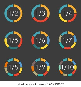 Circular diagram set. Pie chart template. Circle infographics concept with 2,3,4,5,6,7,8,9,10 steps, parts, levels or options isolated on white background. Vector illustration.