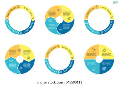 Circular diagrams. Flat charts, graphs, diagrams with 4 steps, options, parts, processes. Vector business templates in blue and yellow for presentation.