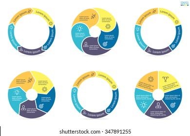 Circular diagrams. Flat charts, graphs, diagrams with 5 steps, options, parts, processes. Vector business templates in blue and yellow for presentation.