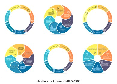 Circular diagrams. Flat charts, graphs, diagrams with 7 steps, options, parts, processes. Vector business templates in blue and yellow for presentation.