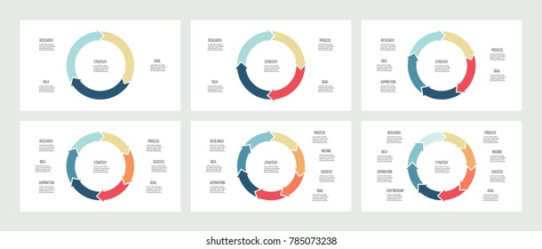 Circular diagrams. Pie charts with 3, 4, 5, 6, 7, 8 options, arrows. Vector templates for business infographics and presentations.