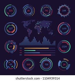 Circular digital hud visualisation data elements. Sci fi interfaces with infographics charts. Vector futuristic statistics panel. Dashboard control with data visual circle illustration