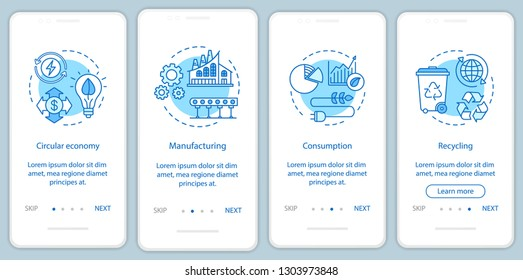 Circular economy onboarding mobile app page screen vector template. Manufacturing, consumption, recycling. Walkthrough website steps with linear illustrations. UX, UI, GUI smartphone interface concept