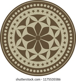 Circular ethnic pattern vector drawing. Poster, logo, emblem, icon, avatar, wall decoration, wall table, roger cover design, artistic events can be used as a pattern.