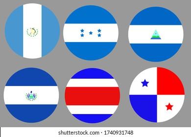 Circular Flag Balls of Central America. Costa Rica, Panama, Guatemala, Honduras, El Salvador, Nicaragua.