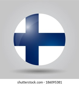 Circular flag with shadow and 3D effect, on grey background - Finland