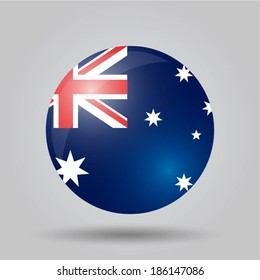 Circular flag with shadow and 3D effect, on grey background - Australia