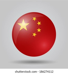 Circular flag with shadow and 3D effect, on grey background - China