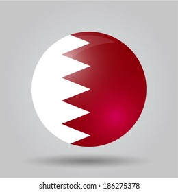 Circular flag with shadow and 3D effect, on grey background - Bahrain