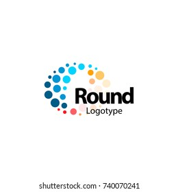 Circular flexible abstract colorful logo. High tech nano molecular sparkling circles sign. Unusual wave vector icon. Round fireworks logotype.