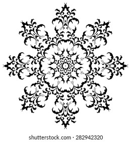 Circular floral ornament in black and white. Mandala, Yantra brown. Vintage vector banner frame card for text, invitations for wedding, birthday celebration, white background, wallpaper, ethnic, boho