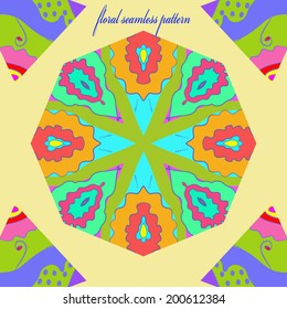 Circular floral seamless pattern on a light yellow background and text.
