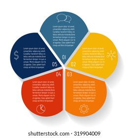 Circular flower infographic design template. Connected round banner with 5 options. Number banners template for diagram, graph, presentation or chart. Business concept sequence banners. EPS10 layout.