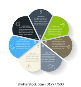 Circular flower infographic design template. Connected round banner with 7 options. Number banners template for diagram, graph, presentation or chart. Business concept sequence banners. EPS10 layout.