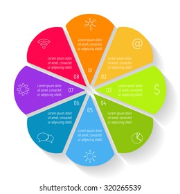 Circular flower infographic design template. Connected round banner with 8 options. Number banners template for diagram, graph, presentation or chart. Business concept sequence banners. EPS10 layout.