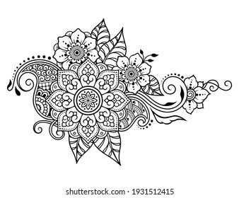 Circular flower mandala pattern for Henna drawing and tattoo. Decoration in ethnic oriental, Indian style. Doodle ornament. Outline hand draw vector illustration.