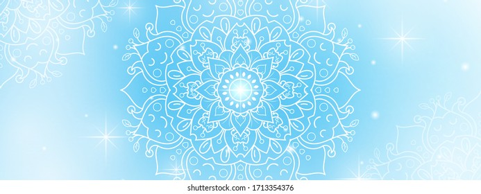 Circular Flower Mandala with soft blue sky background, Vector mandala Oriental pattern, Hand drawn decorative element. Unique design with petal flower. Concept relax and meditation use for page logo