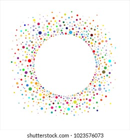Circular frame with colorful confetti on a white background. Vector illustration.
