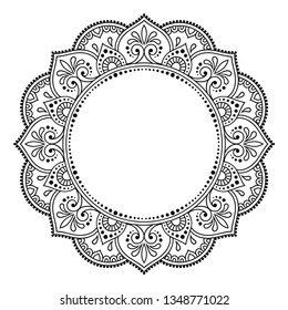 Circular frame pattern in form of mandala for Henna, Mehndi, tattoo, decoration. Decorative frame - ornament in ethnic oriental style. Coloring book page.