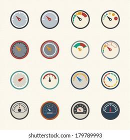 Circular gauges icons set