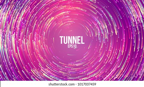 Circular geometric vector background. Circle round colorful lines. Abstract vortex trail. Flat whirlpool cover for presentation