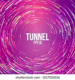 Circular geometric vector background.  Ultra violet Circle round colorful lines. Abstract vortex trail. Flat whirlpool banner