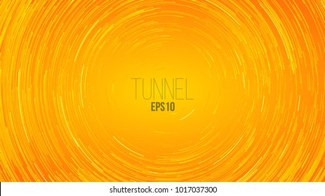 Circular geometric vector minimal background. Yellow Circle round colorful lines. Abstract vortex trail. Flat whirlpool cover for presentation