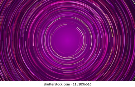 Circular geometric vortex background of blue and purple light. Vector space galaxy swirl in slow motion effect background