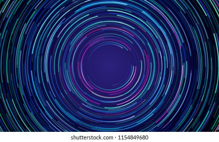 Circular geometric vortex blue and purple light motion vector background