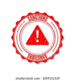 Circular grunge rubber stamp with text of the sanction, isolated on white background, vector illustration.