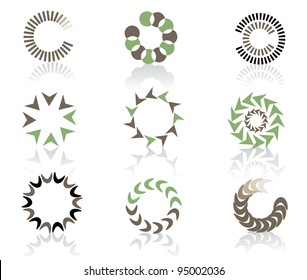 Circular Icon Symbol Logo Element set EPS 8 vector, grouped for easy editing. No open shapes or paths.