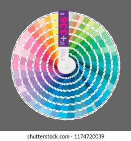 Circular illustration of color palette guide for offset print, guide book for designers and artists