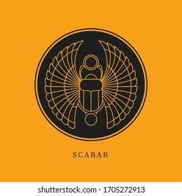 Circular illustration of the Egyptian scarab beetle, personifying the god Khepri.