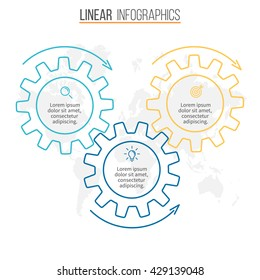 Circular infographic. Chart, diagram, graph with 3 gears. Linear vector template.