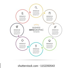 Circular Infographic design with icons and 8 options or steps. Infographics for business concept. Can be used for presentations banner, workflow layout, process diagram, flow chart, info graph