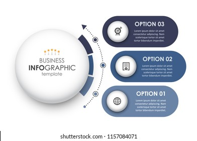 Circular Infographic design template with icons and 3 options or steps. Business concept.  Can be used for process diagram, presentations, workflow layout, banner, flow chart, info graph.