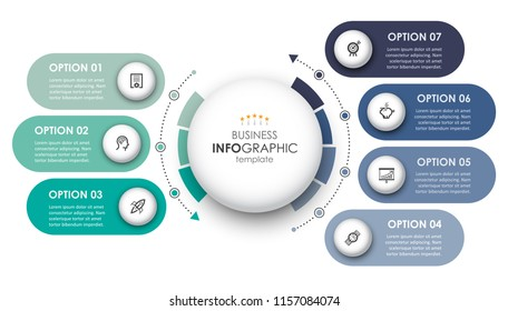 Circular Infographic design template with icons and 7 options or steps. Business concept.  Can be used for process diagram, presentations, workflow layout, banner, flow chart, info graph.