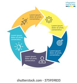 Circular infographic element. Business chart, graph, diagram with 5 steps, options, parts, processes with arrows. Vector template for presentation.