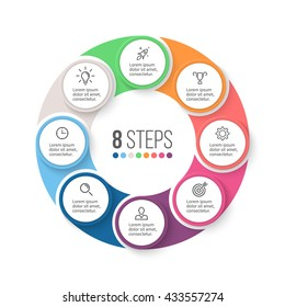 Circular infographic element. Chart, graph, diagram with 8 steps, options, parts. Vector business template.