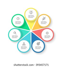 Circular infographic element with petals. Business chart, graph, diagram with 7 steps, options, parts, processes. Vector design element.