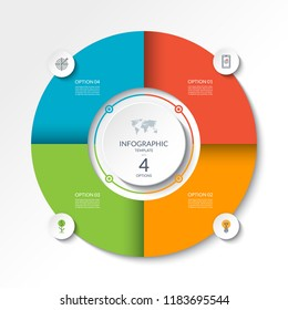 Circular infographic flow chart. Process diagram circle with 4 options, parts, segments. Vector banner