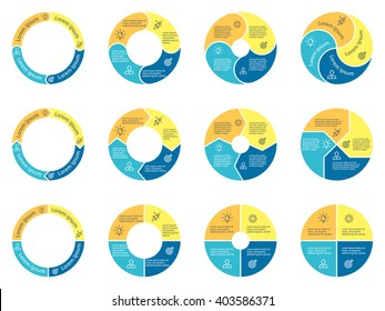 Circular infographic. Pie charts, diagrams with 4 steps, options, parts, processes. Vector design elements.