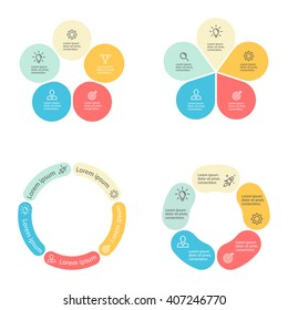 Circular infographic. Pie charts of different shapes with rounded sections. Diagram with 5 steps, parts, processes. Vector design element.