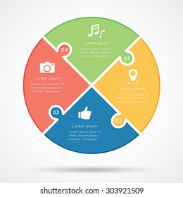 Circular infographic template consisting of four jigsaw puzzle pie pieces in red, green, yellow and blue on white background.