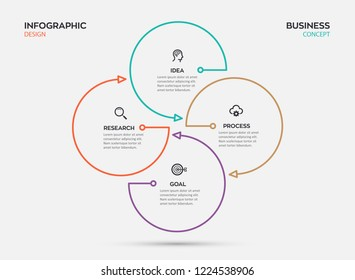 Circular Infographic thin line design with icons and 4 options or steps. Business concept. Can be used for presentations banner, workflow layout, process diagram, flow chart, info graph