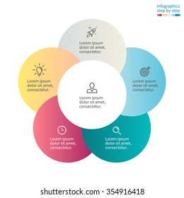 Circular infographics with colored circles. Diagram, chart with 5 steps, options, parts, processes with petals.