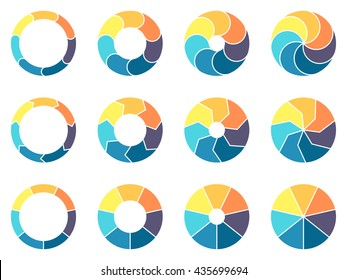 Circular infographics. Pie charts, diagrams with 7 steps, options, parts, processes. Vector design elements.